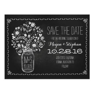 Floral mason jar chalkboard save the date postcard