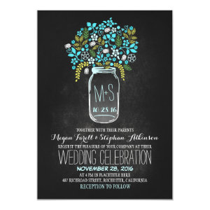 floral mason jar chalkboard wedding invitations 5