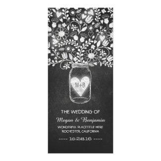 floral mason jar chalkboard wedding programs