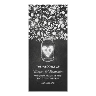 floral mason jar chalkboard wedding programs rack card design
