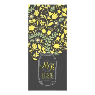 floral mason jar grey yellow wedding program customized rack card