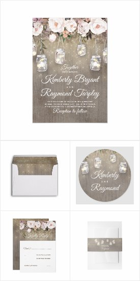 Floral Mason Jar Lights Coordinating Wedding Invitation Set
