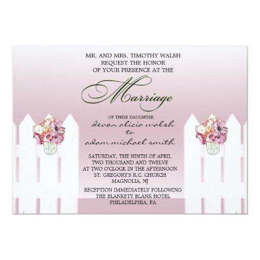 Floral Mason Jar Marriage Invitation
