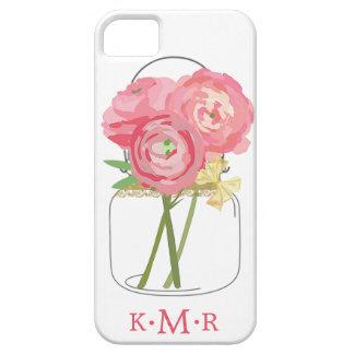 Floral Mason Jar Monogrammed iPhone 5 Case