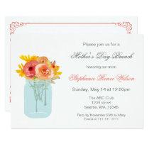 Floral Mason Jar Mother's Day Brunch Invites