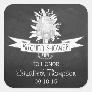 Floral Mason Jar On Chalkboard Kitchen Shower Square Sticker