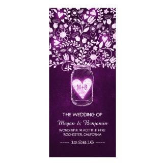 floral mason jar purple elegant wedding programs