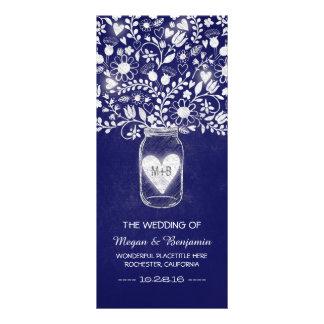floral mason jar royal blue wedding programs