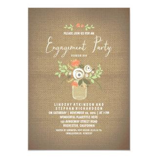 Floral Mason Jar Rustic Burlap Engagement Party Card