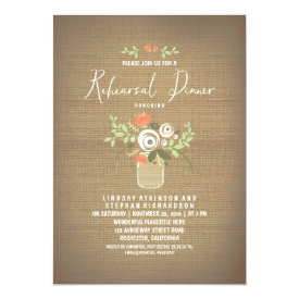 Floral Mason Jar Rustic Burlap Rehearsal Dinner Card