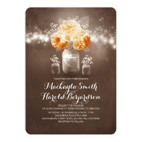 floral mason jar rustic string lights wedding invitation