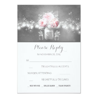 floral mason jar rustic string lights wedding RSVP Card