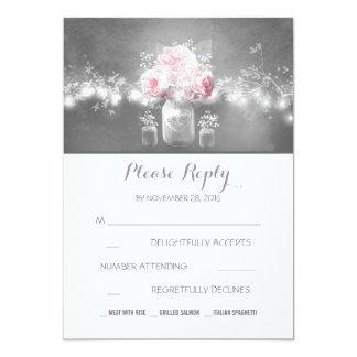 floral mason jar rustic string lights wedding RSVP Card