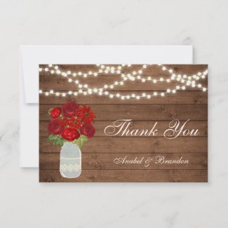 Floral Mason Jar Rustic Thank You Card