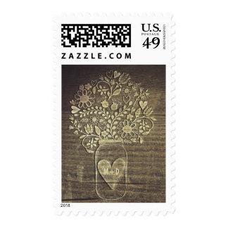 Floral mason jar rustic wedding postage stamps