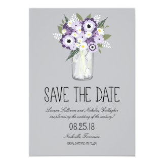 Floral Mason Jar Save the Date Personalized Announcement