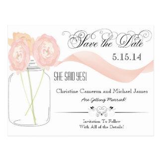Floral Mason Jar Save the Date Postcards