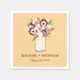 Floral Mason Jar | Wedding Paper Napkin