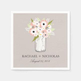 Floral Mason Jar   Wedding Standard Cocktail Napkin