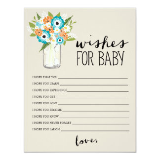 Floral Mason Jar | Wishes for Baby Card