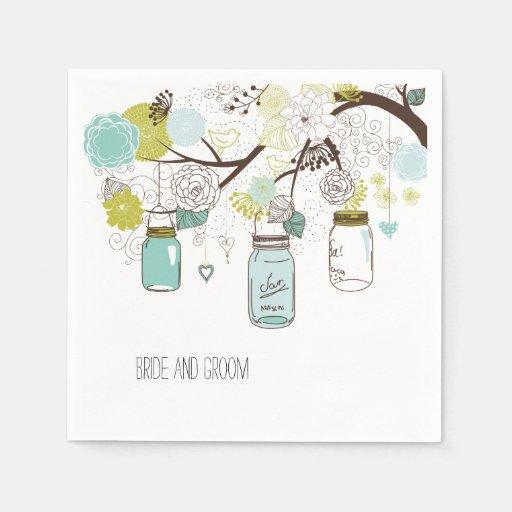 Floral Mason Jars Disposable Napkin