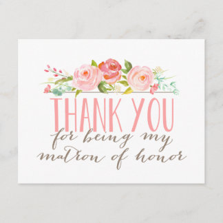 Floral Matron Of Honor Thank You