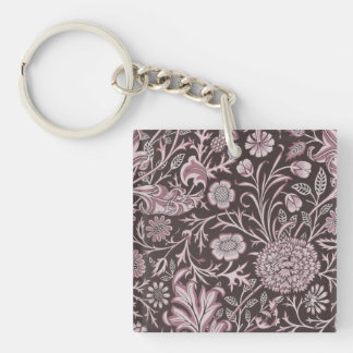 Floral Mauve and Chocolate Keychain