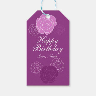 Floral Mauve Purple Rose Birthday Party Gift Tag