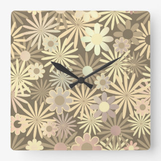 Floral Meadow Margarita Pearly Ivory Brown Square Wall Clock