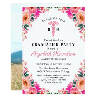 Floral Medical Nursing School Grad Party Photo Card