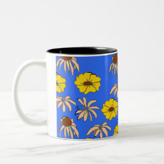 Floral Melange Light Blue with Yellow Flowers Two-Tone Coffee Mug