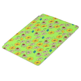 Floral mélange lime green pattern iPad cover