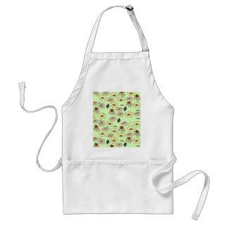 Floral melange pale green, yellow pattern apron