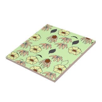 Floral melange pale green, yellow pattern ceramic tile