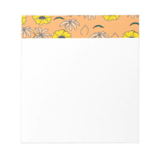 Floral Melange pale orange,yellow, black pattern Notepad