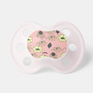 Floral mélange pale pink yellow pattern BooginHead pacifier