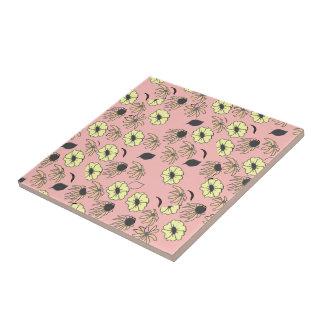 Floral mélange pale pink yellow pattern tile