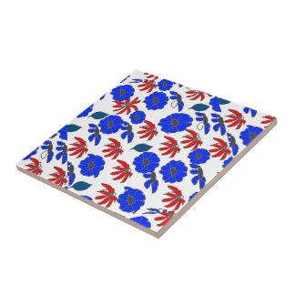 Floral mélange red white blue patriotic pattern tile