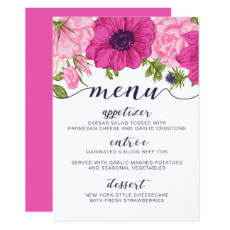 Floral Menu // Wedding, Bridal Shower, Baby Shower Card