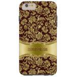 Floral metálico de Brown y del oro Funda De iPhone 6 Plus Tough