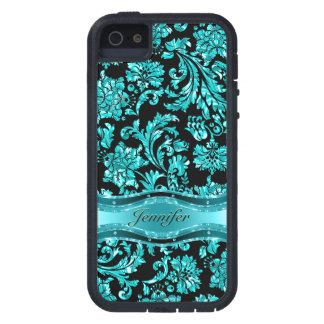 Floral metálico negro y azul Damasco-Modificado pa iPhone 5 Case-Mate Protector