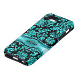 Floral metálico negro y azul Damasco-Modificado pa iPhone 5 Case-Mate Funda