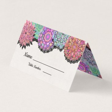 Wedding Themed Floral Mexican Fiesta Mandala table cards