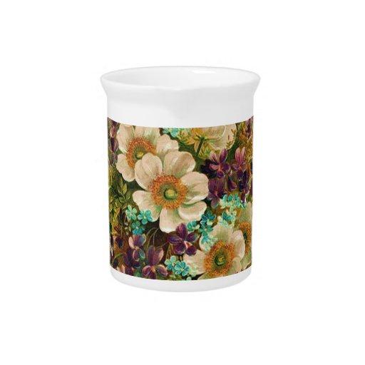 Floral mezclado del vintage magnífico jarras de beber