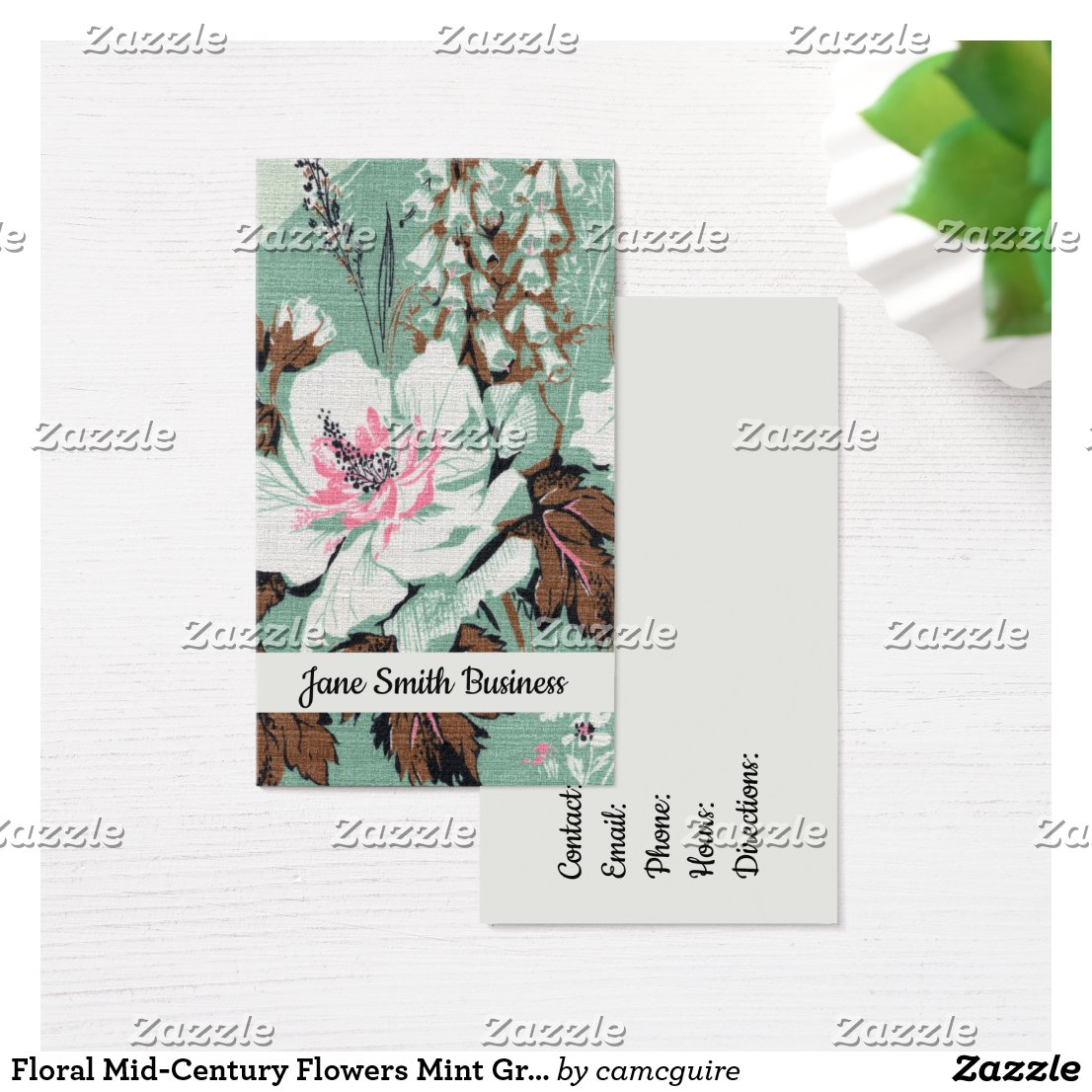 Floral Mid-Century Flowers Mint Green Blooms Business Card