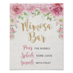 Floral Mimosa Bar Sign Pink Gold Flower Wedding