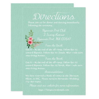 Floral Mint Green Directions Pink Roses Wedding Card