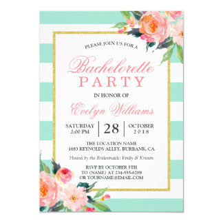 Floral Mint Green Stripes Gold Bachelorette Party Card