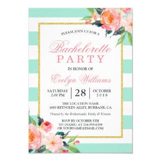 Floral Mint Green Stripes Gold Bachelorette Party Invitation