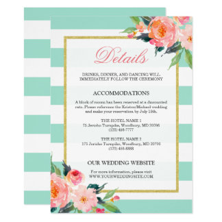 floral mint green stripes gold wedding details card - Mint And Gold Wedding Invitations